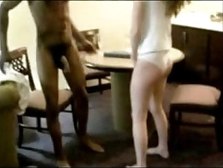 Beatiful young wife gets two big black lovers