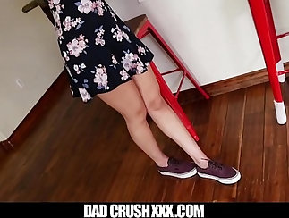 Classy MILF playing with her long legged stepdaughter. POV