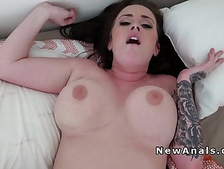 Big tit gf gets anal and red lips