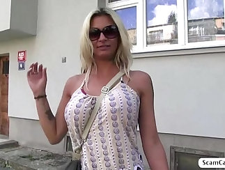 Big Tits blonde amateur sucks and fucked outdoors