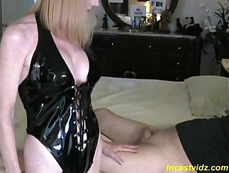 Busty Mother Milking Her Flower Dildo While Her Son Watch