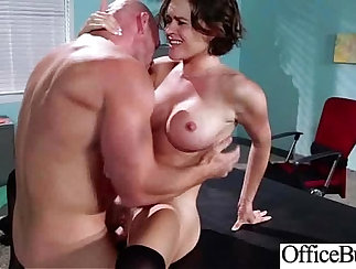 brunette with nice eyes is fucked by her dude in the office