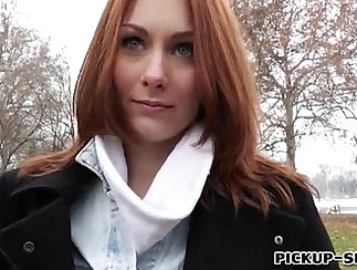 redhead that is nice is getting cash in her mouth