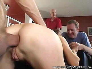 beautiful swingers sex party with football scene