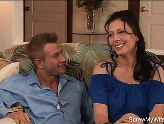 Classy brunette milf pounded by stepdaughter on camera