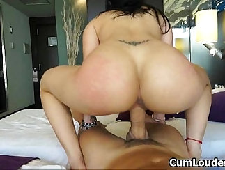 Brunette bitch with big tits riding horny dick passionately