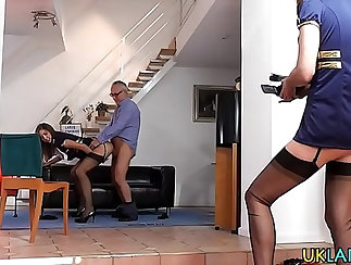 Beefcake MILF takes hold of blond dick up and fucks in stockings
