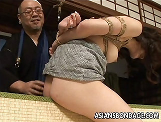 Asian babe worships dildo and rides it till she cums
