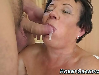 Bubble Butt granny gives head and takes cum lover out
