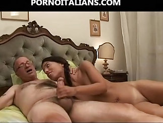 Chick blows cock then uses it against her pussy until she gets cum on her tits