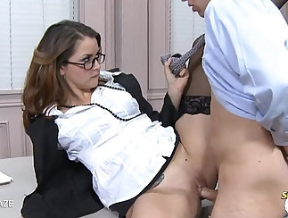 Cock riding and cum ride scene with Dominica Chung & Jayme Lane